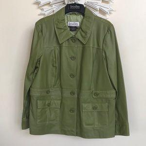 Bradley Bayou Olive Green Leather Jacket XL